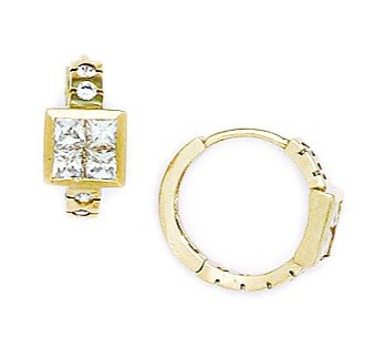 14ct Yellow Gold CZ 4 Segment Hinged Earrings - Measures 13x14mm