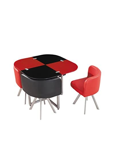 Luxury Home Checkerboard Dining Set, Red/Black