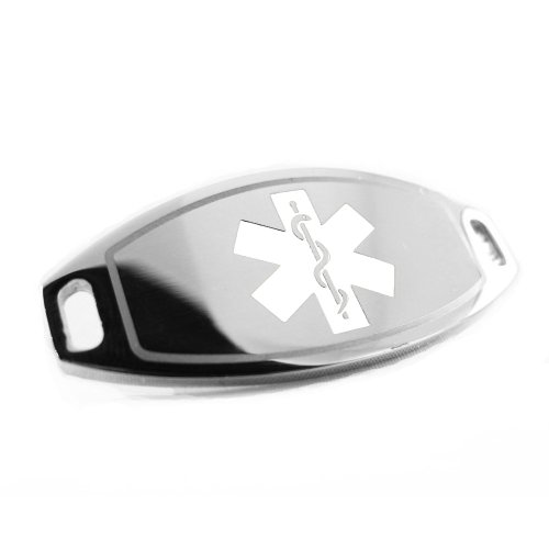 My Identity Doctor - Cancer Patient Medical Alert ID Tag, Attachable To Bracelet, White Symbol Pre-Engraved