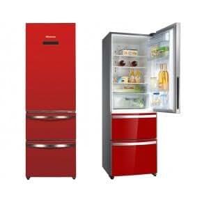 hisense rm411n4gr1 frost free combi fridge freezer red. Black Bedroom Furniture Sets. Home Design Ideas