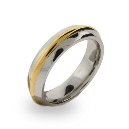 Mens Stainless Steel Gold Rimmed Band Size 11 (Sizes 10 11 12 Available)