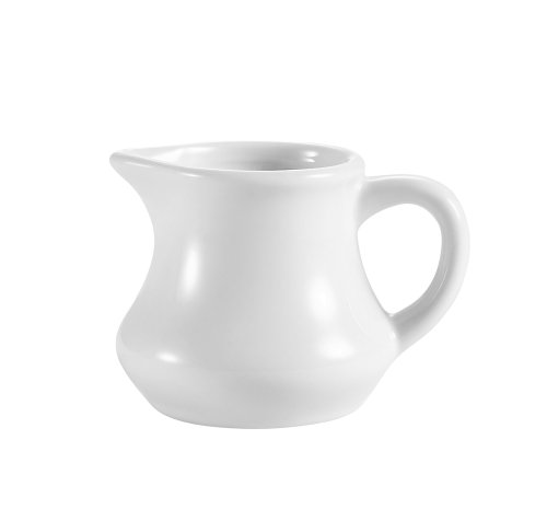 Cac China Pc-4 4-Ounce Porcelain Creamer, 3-1/4 By 2 By 2-1/2-Inch, Super White, Box Of 36