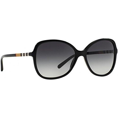 BURBERRY Sonnenbrille BE4197, Occhiali da Sole Unisex-Adulto, Schwarz (Gestell: Schwarz, Gläser: Grau-Verlauf 30018G), Taglia Unica