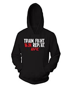 UFC Train Fight Win Hooded Pullover, 2X, Black