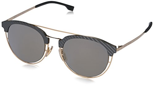 BOSS-by-Hugo-Boss-Mens-B0784S-Round-Sunglasses-GoldGray-Bronze-Mirror-49-mm