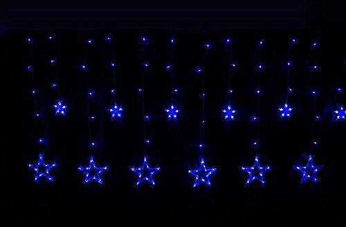 Hkbayi Seven Color Changeable 2M Width 1M Drop 168Leds Curtain Star Xmas Lights Led String Curtain Wedding Decoration Tree Led String Lighting 110V Xmas Sale Strip Light (Blue)
