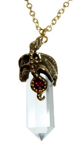 Quarts Cristal with Bronze Dragon Pendant