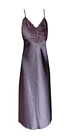 Womens Long Flowing Sexy Satin Nightdress Lace Bust Thin Shoulder Straps Made in the UK in a Selection of Gorgeous Colours (Large 14/16, Aubergine)