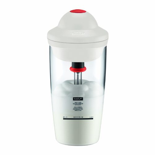 Bodum Latte Battery Operated Milk Frother and Light Mixer with Plastic Beaker, 0.2-Liter, 6-Ounce, Off White