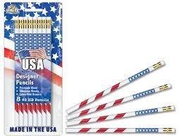 Amazon Com Usa Made 2 Pencils 8pk Flag Design Wood