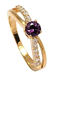 Simply Glamorous Jewellery-18ct Gold Filled Cross Over Half Eternity Ring Amethyst/Simulated Diamond