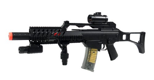 Spring Double Eagle Blade Trinity Style G36 Assault Rifle FPS-150, Scope, Laser, Tactical Light, Open Stock Airsoft Gun
