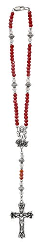 Red Divine Auto Rosary With Red Crystal Beads With Silver Ox Crucifix and Center (Crystal Auto Rosary compare prices)