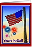 Flag & Fireworks Fourth of July Party - Invitation Card