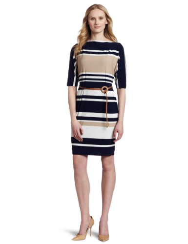 Jones New York Women's Boat Neck Stripe Belted Sheath Matte Dress, Multi, 10