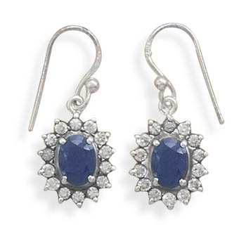 Rough-Cut Sapphire and Clear CZ French Wire Earrings