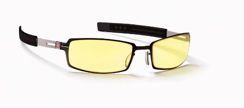 Gunnar Optiks PPK-03001 PPK Full Rim Advanced Video Gaming Glasses with Headset Compatibility and Amber Lens Tint, Onyx/Mercury Frame Finish