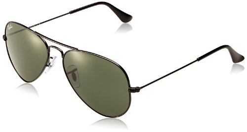 Ray Ban Sunglasses RB3025 Aviator Large Metal W3235 Black/Crystal Green, 55mm