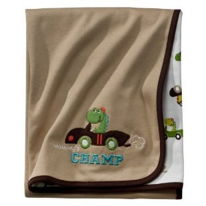 Carter's Just One You Reversible Receiving Blanket: Mommy's Champ (Dragon Driving a Car)