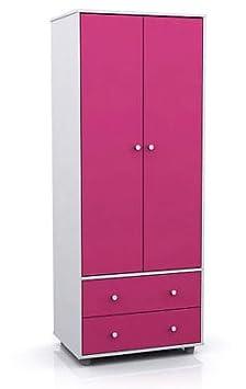 Miami 2 para puerta armario doble de tela de noche con en color rosa y blanco Marco