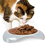 SmartCat Shallow Elevated Natural Plastic Cat Dish small 3-oz