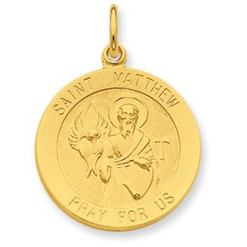 24k Gold-plated Sterling Silver Saint Matthew Medal