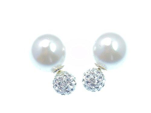 Originale faccetierte autocarri LaFemme Tribal Orecchini 925Sterling Silver Line cristallo orecchini doppia perla perla bianco 16mm Pin,