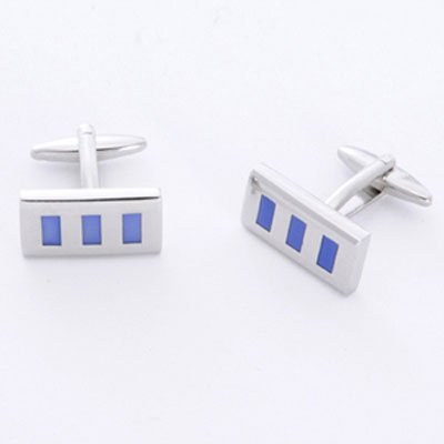 Blue Rectangle Cufflinks and Personalized Case