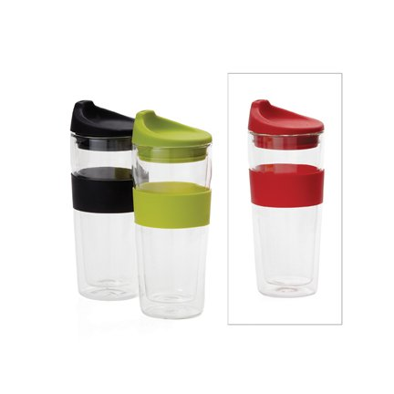 Torre And Tagus To-Go Silicone Grip Glass D/W Cup 420Ml - Red