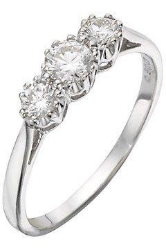 Schöner 18 Karat (750) Weißgold 3 Steine Damen – Diamant Ring Brillant-Schliff 0.50 Karat günstig online kaufen