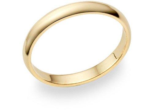 14K Gold 3mm Plain Wedding Band Ring