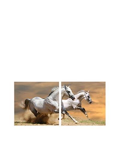 Baxton Studio Galloping Grandeur Mounted Diptych Print, Multi