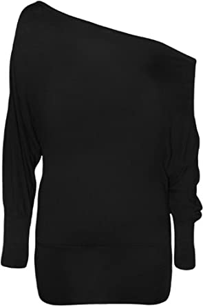 WearAll Women's Off-Shoulder Batwing Top - Black - US 4-6 (UK 8-10)