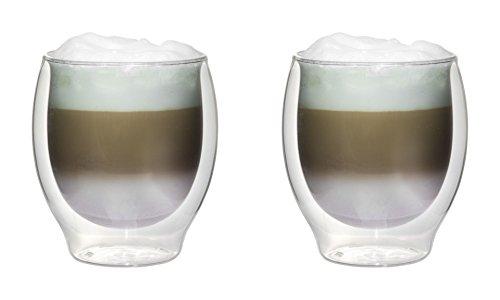 2x 410ml XXL doppelwandige Jumbo-Thermogläser mit Schwebe-Effekt für Cappuchino, Latte Macchiato, Cocktails, Tee, Säfte, Bier, Eis uvm. Filosa von Feelino