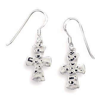 Sterling Silver Hammered Cross French Wire Earrings