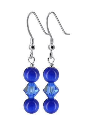 SCER333 Made with Swarovski Elements Blue Crystals & Cats Eye Beads .925 Sterling Silver Fish Hook Back findings 1.5