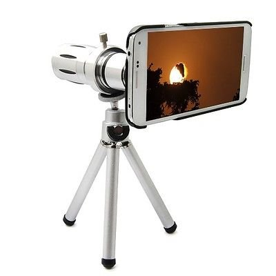 12X Zoom Telescope Optical Lens For Samsung Galaxy Sv S5 I9600 + Case + Tripod