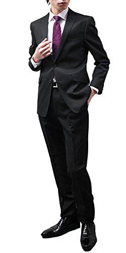 (リスペクト)RESPECT 2Bスリムスーツ パンツウォッシャブル ストレッチ ブラック無地 リクルート Y(細め)5 ブラック