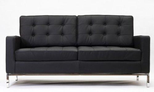 Modern Florence Style Loveseat Genuine Black Leather