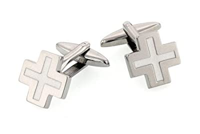 Cross shaped cufflinks with white accent with presentation box