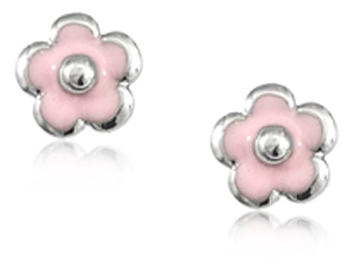 Children's Sterling Silver Pink Flower Safety Earrings