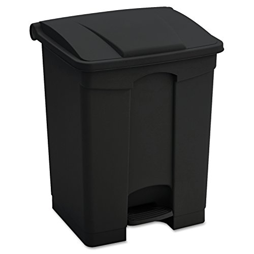 Safco Products 9923BL Plastic Step-On Waste Receptacle, 23-Gallon, Black (Large Trash Can With Lid compare prices)