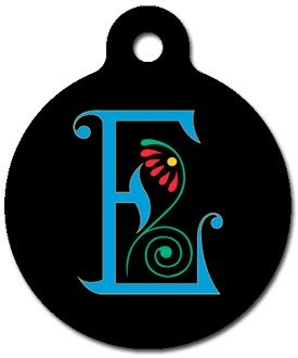 Monogram Letter E Pet ID Tag for Dogs and Cats