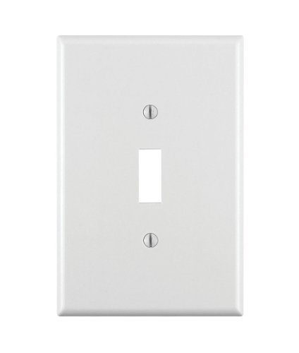 Leviton 88101 1-Gang Toggle Device Switch Wallplate, Oversized, Thermoset, Device Mount, White