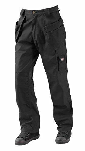 Da uomo Lee Cooper LCPNT216tasche pantaloni pantaloni da lavoro Ginocchiera tasche Black Cintola 40W Gamba corto