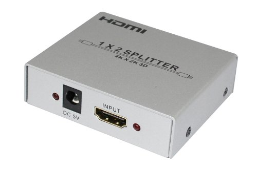 Panlong Hdmi 1.4 1X2 1 To 2 3D Splitter Amplifier 1 In 2 Out For Dual Display With 4Kx2K 3D 1080P Hd Audio Hdcp Support - Silver Frosted Metal Enclosure