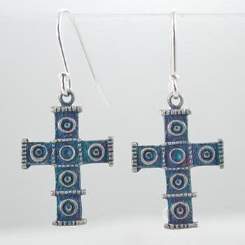 Cross Dangle Earrings with Double Circle Design in Sterling Silver and Purple Patina Finish,#9135