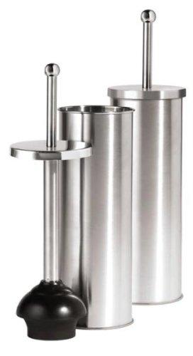 Stainless Steel Toilet Bowl Plunger Bathroom w/ Lid