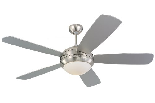 Monte Carlo 5DI52BSD-L Discus 52-Inch Brushed-Steel 5-Blade Ceiling Fan with 75-Watt Light