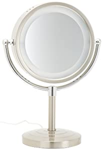 Jerdon HL745NC 8.5-Inch Tabletop Two-Sided Swivel Halo Lighted Vanity Mirror with 5x Magnification, 15.5-Inch Height, Matte Nickel and Chrome Finish